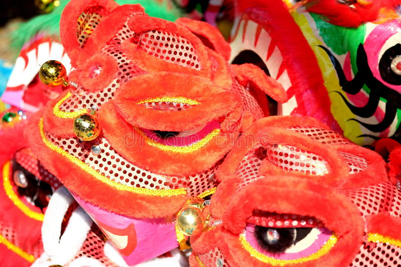 The Lion Head mask for Lion Dance in Vietnam. The lion dance is performed during Lunar New Year and other traditional, cultural festivals. It is also performed royalty free stock image