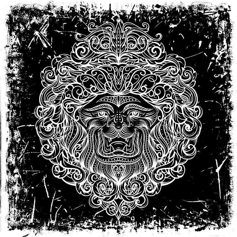 Lion Head med den abstrakta prydnaden på grungebakgrund stock illustrationer