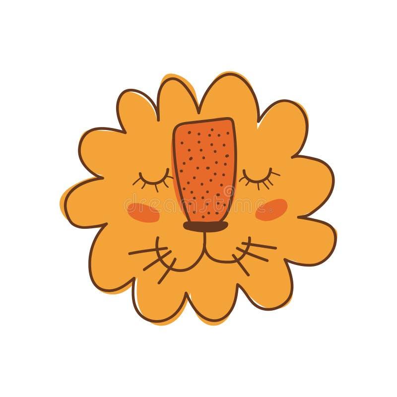 Lion Head mignon, Leo Smiling Face, élément de conception peut être employé pour la copie de T-shirt, affiche, carte, label, vect illustration libre de droits