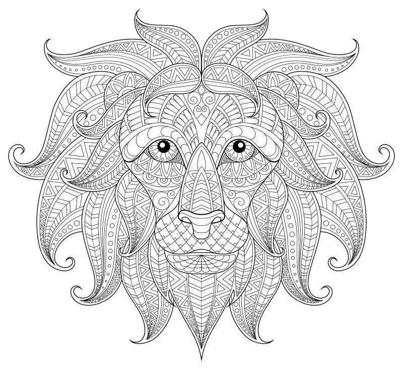 Lion Head Página antiesfuerza adulta del colorante stock de ilustración