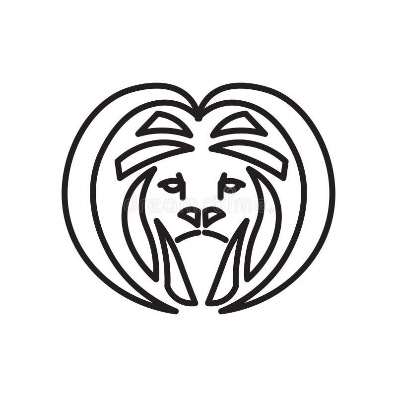 Lion Head-pictogram vectordieteken en symbool op witte achtergrond, Lion Head-embleemconcept wordt geïsoleerd royalty-vrije illustratie