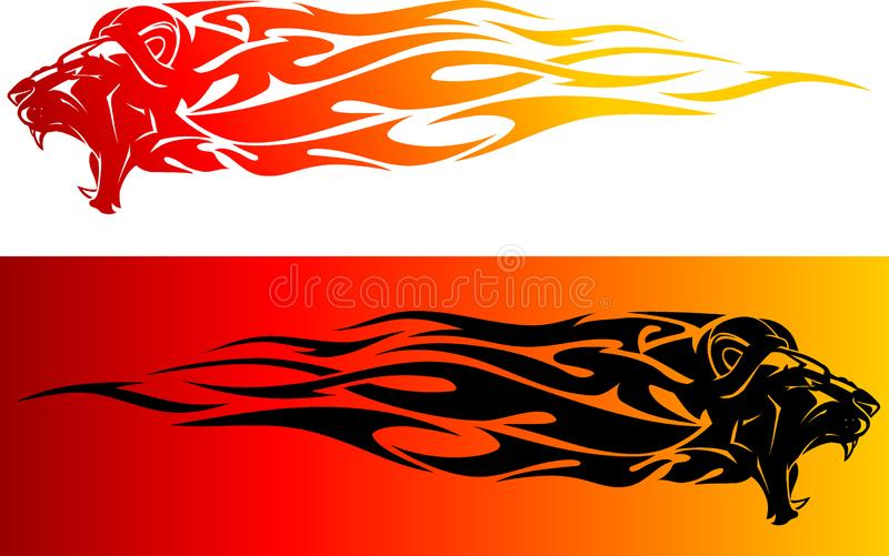 Lion Head Red Hot Flame stock illustratie