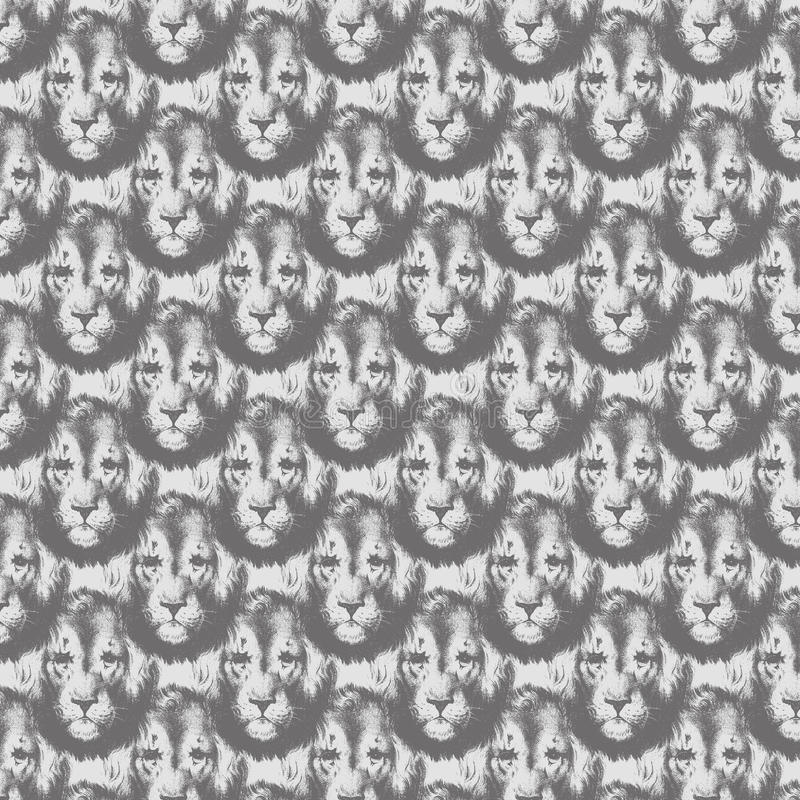 Lion head repeat seamless pattern in greyscale. Lion head repeat seamless pattern in black and white greyscale stock photo