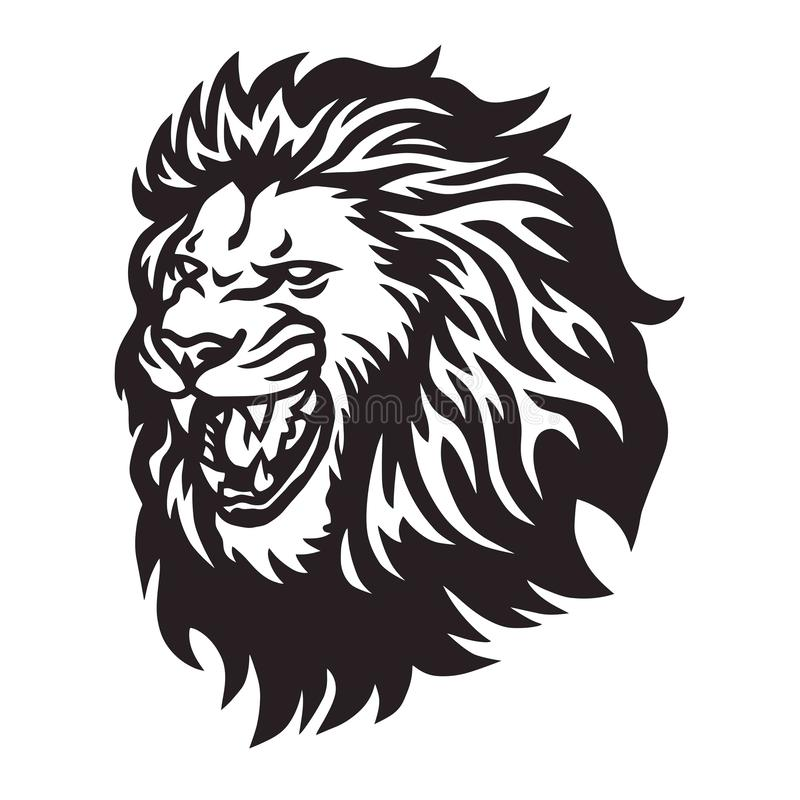 Lion Head Roaring Logo Vector-Ikone lizenzfreies stockfoto
