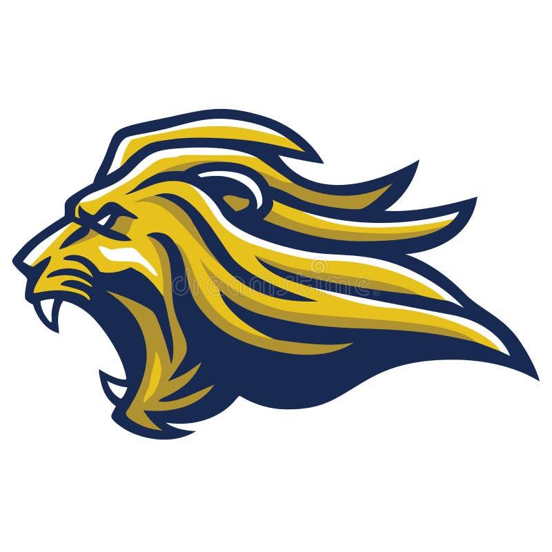 Lion Head Roaring Mascot enojado ilustración del vector