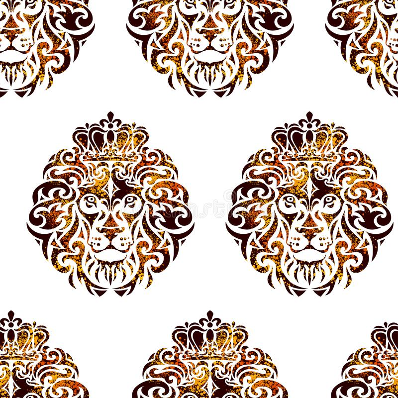 Lion head seamless background. Seamless background from Ornamental decorative isolated golden lion with a crown. Can be used for t-shirt, poster, tattoo, textile vector illustration