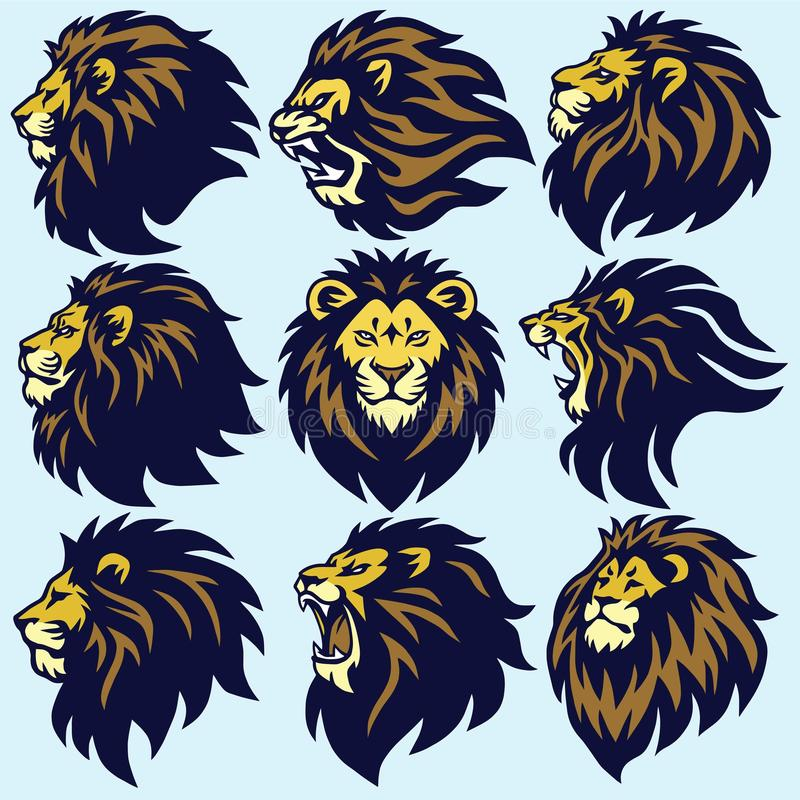 Lion Head Sport Logo Mascot Set Premium Collection Vector иллюстрация штока