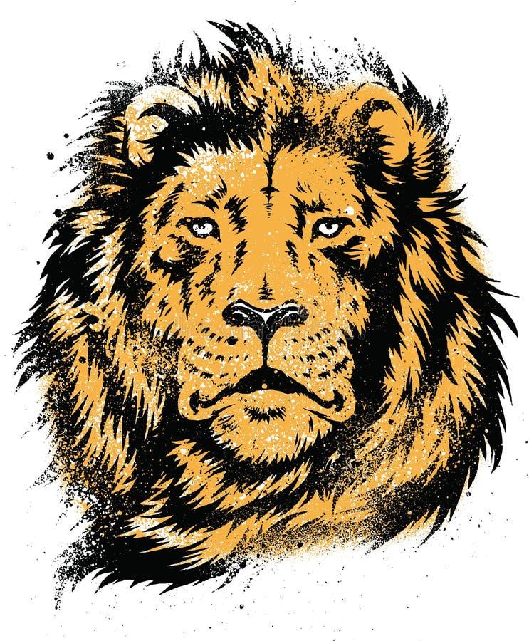 Lion Head Stencil Vetora ilustração stock