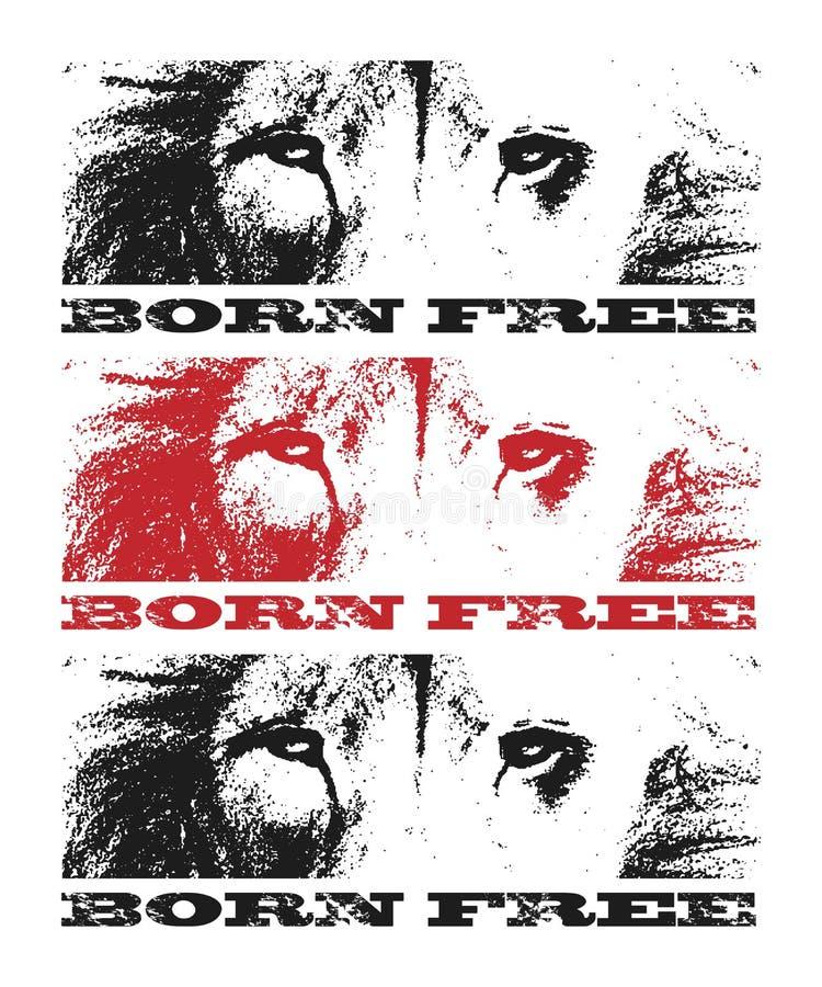 Lion Head Tiré par la main Illustration de vecteur illustration stock