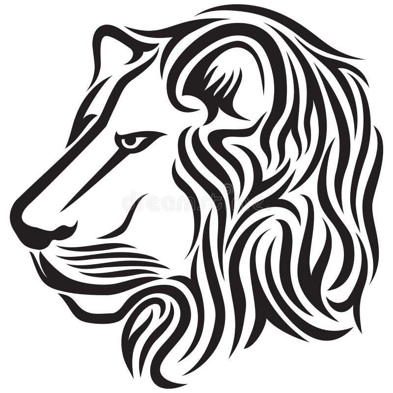 Lion head tribal tattoo royalty free illustration