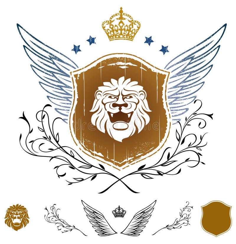 Download Lion Head Winged Insignia stock vector. Image of terror - 11342237