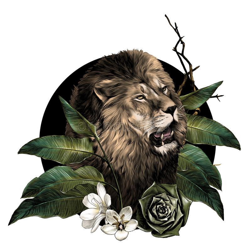 Free Lion Head With Open Mouth Surrounded By Tropical Plants Leaves And Flowers Composition Stock Photography - 154423102