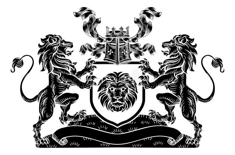 Lion Heraldic Coat van het Embleem van CREST van het Wapensschild stock illustratie