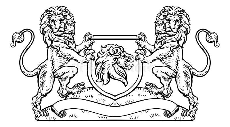 Lion Heraldic Crest Coat van het Embleem van het Wapensschild vector illustratie