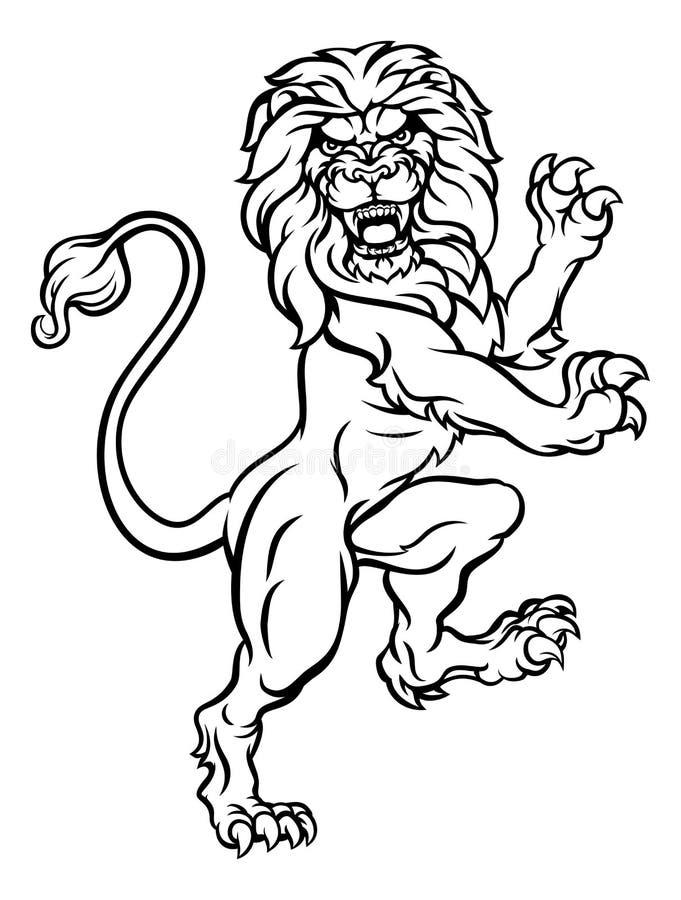 Lion Heraldic Crest Coat van Wapens stock illustratie