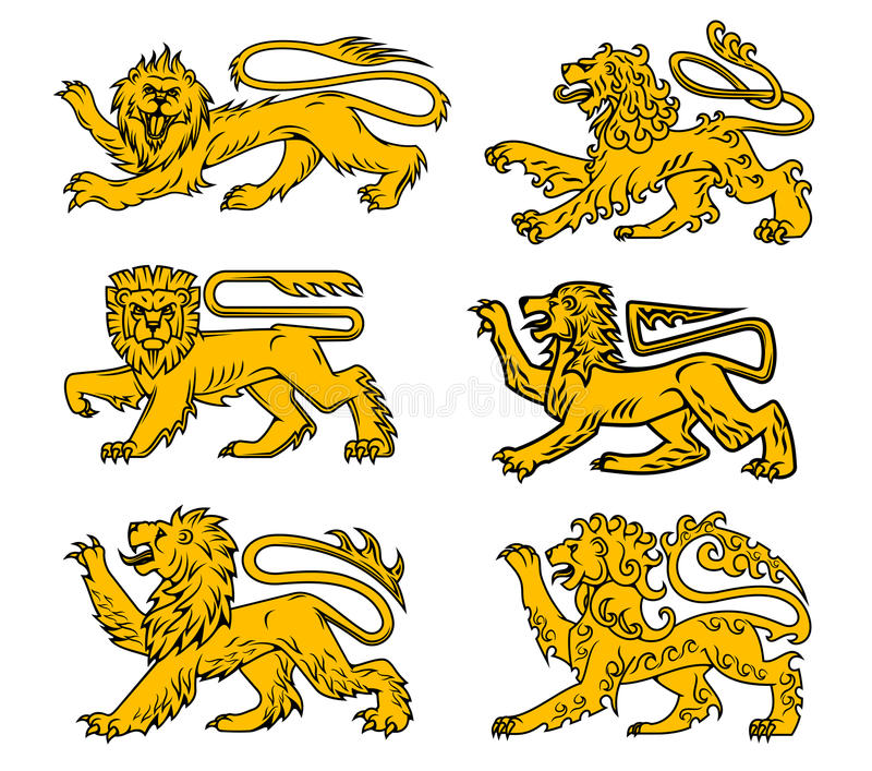 Lion heraldic icon set for tattoo, heraldry design. Lion heraldic animal isolated icon set. Golden lion passant profile with right foot and tail raised. Medieval vector illustration