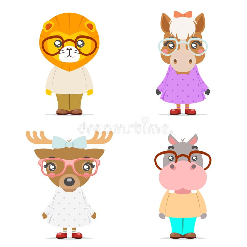 Lion horse deer hippo cute animal boy girl cubs mascot cartoon icons set flat design vector illustration. Lion horse deer hippo cute animal girl boy cubs mascot royalty free illustration