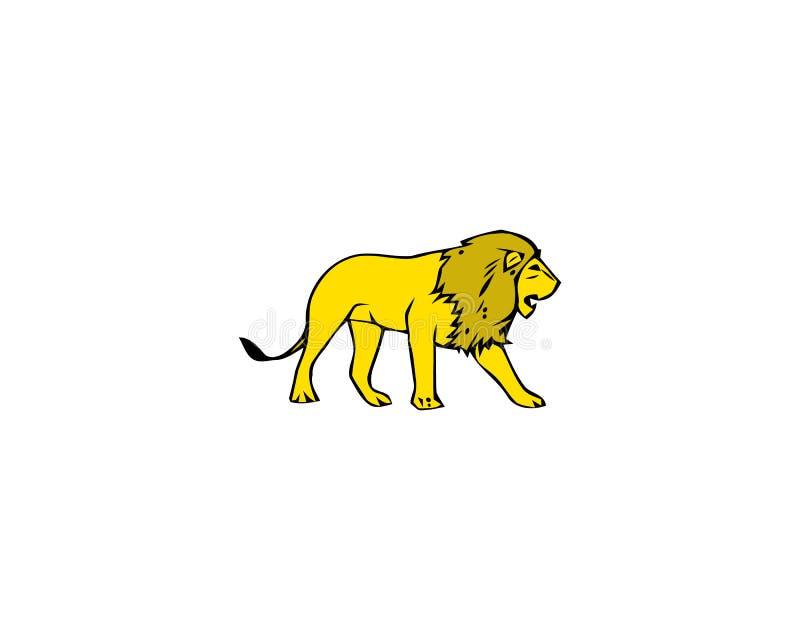Lion Isolated On White Background de marche Illustration de vecteur illustration libre de droits