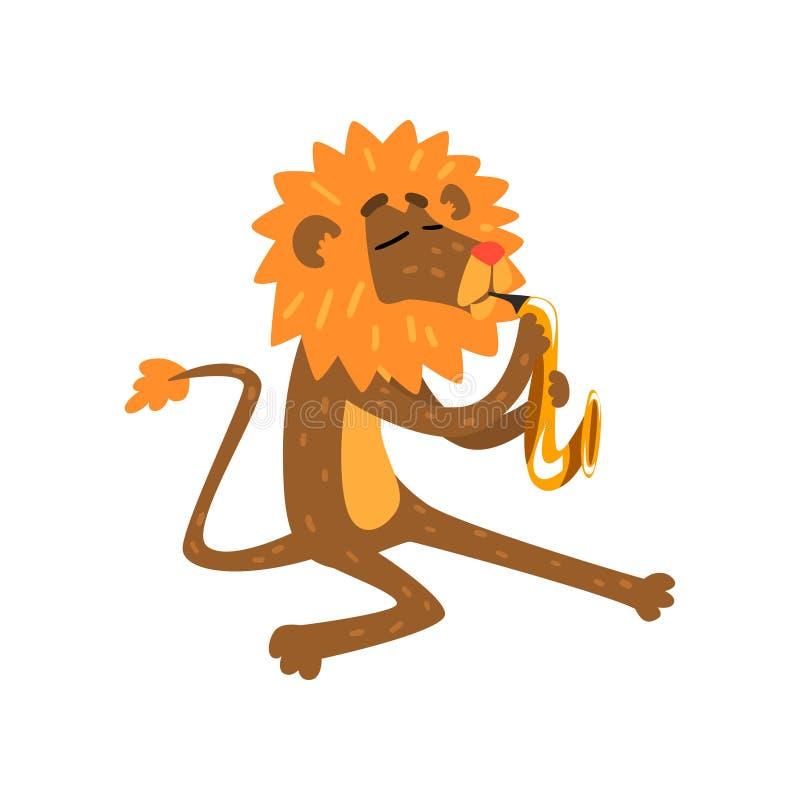 Lion jouant le saxophone, caractère animal de bande dessinée avec l'illustration de vecteur d'instrument de musique sur un fond b illustration libre de droits
