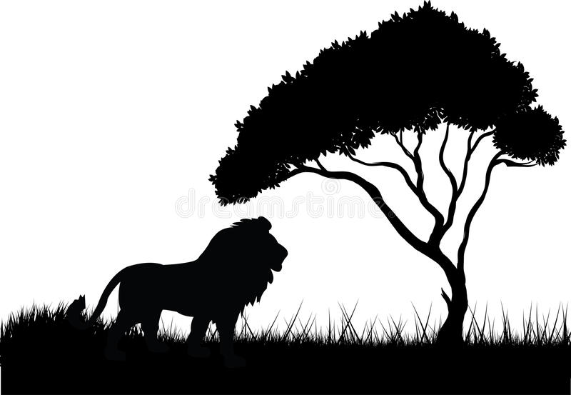 Lion in the jungle silhouette stock illustration