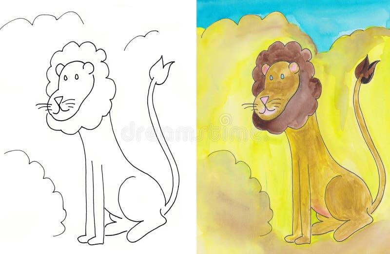 Lion. King of beasts, colorful artwork stock illustration
