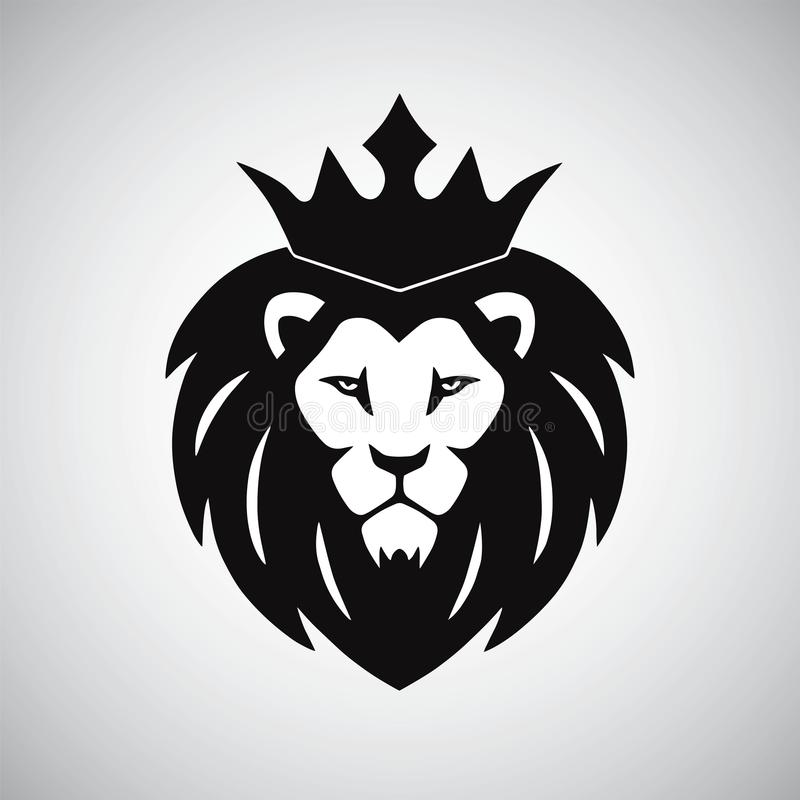 Lion King with Crown Logo vector illustration