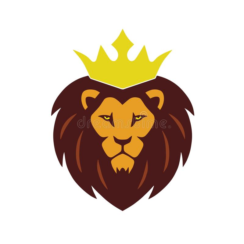 Lion King Gold Crown Logo stock de ilustración