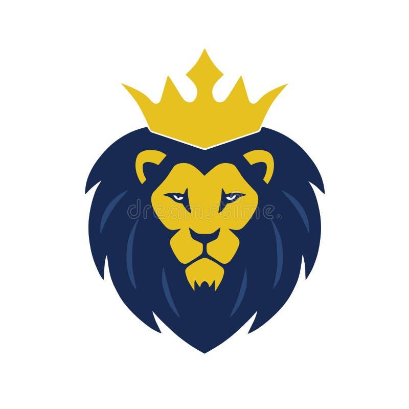 Lion King Head Logo met Kroonvector royalty-vrije illustratie
