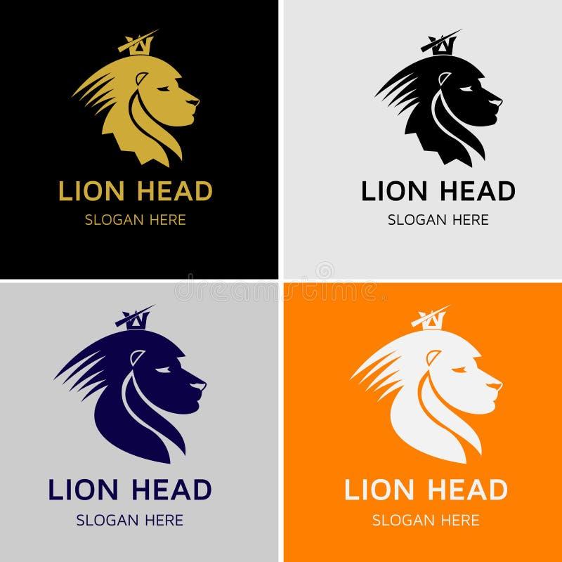 Lion King Head Vetora Logo ilustração stock