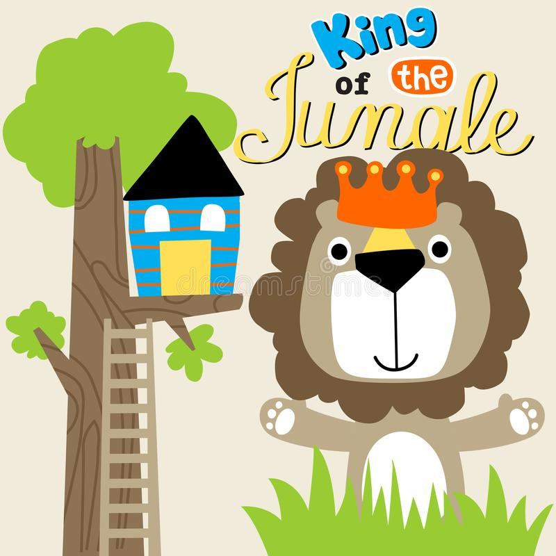 Lion the king of jungle stock illustration