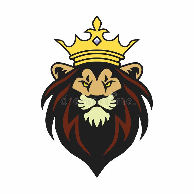 Lion King Mascot con la corona Logo Design Vector Illustration libre illustration