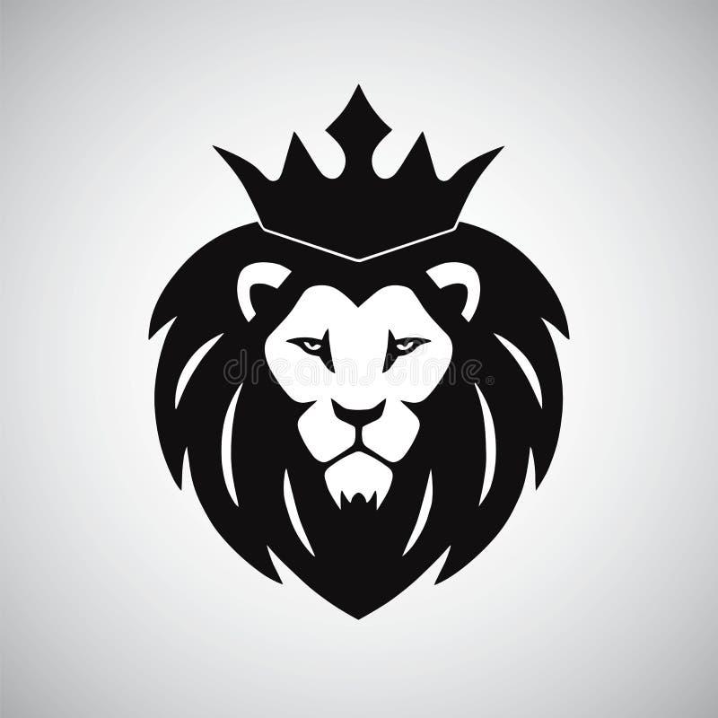 Lion King med kronalogo royaltyfri fotografi