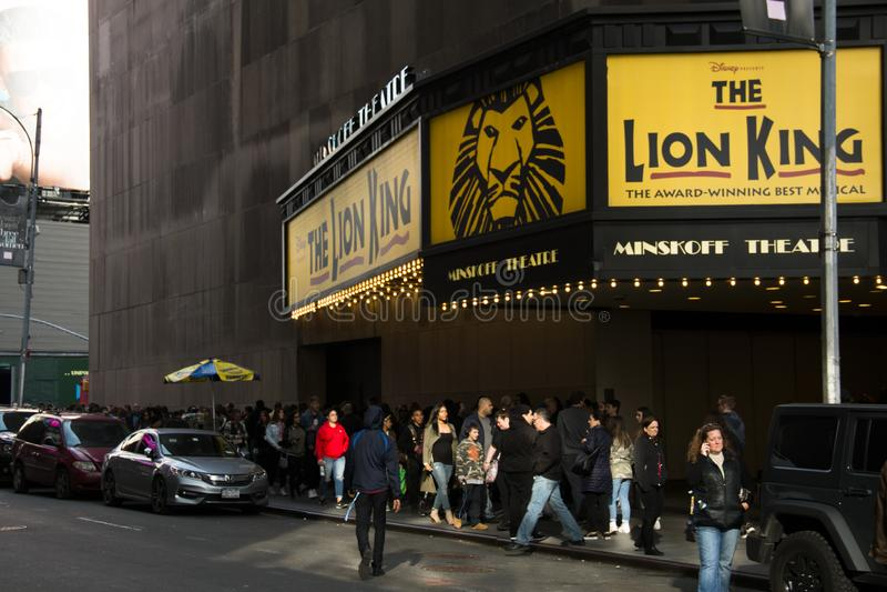 Lion King Musical en New York City imagenes de archivo