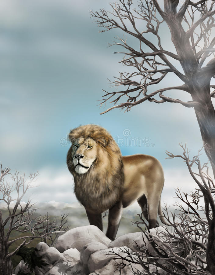 Free Lion King Oil Painting Wildlife Animals World Wallpaper Stock Photography - 71304342