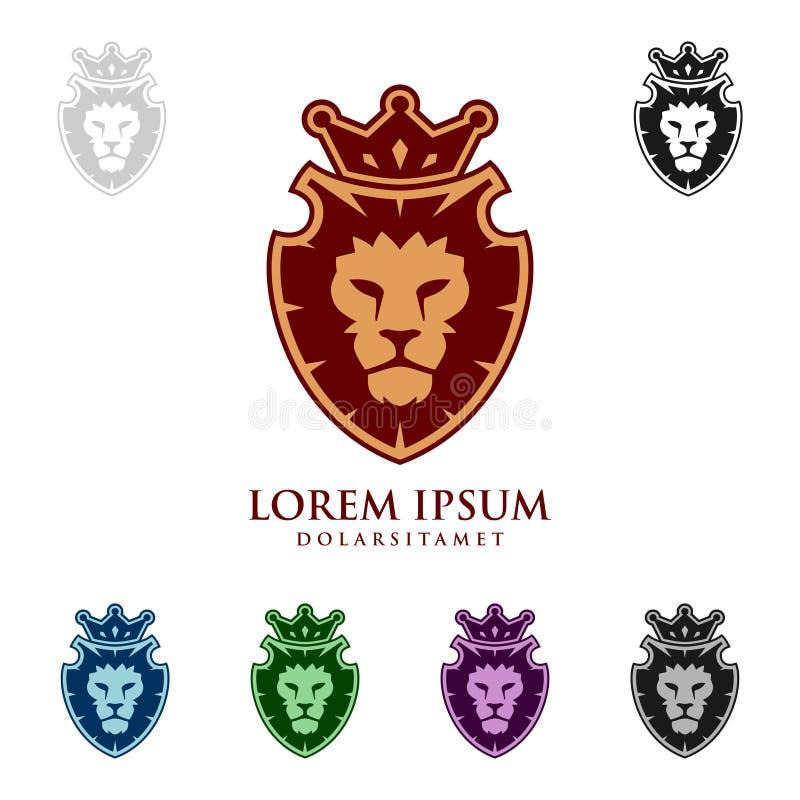 Lion King Vector Logo Design élégant avec la couronne illustration libre de droits