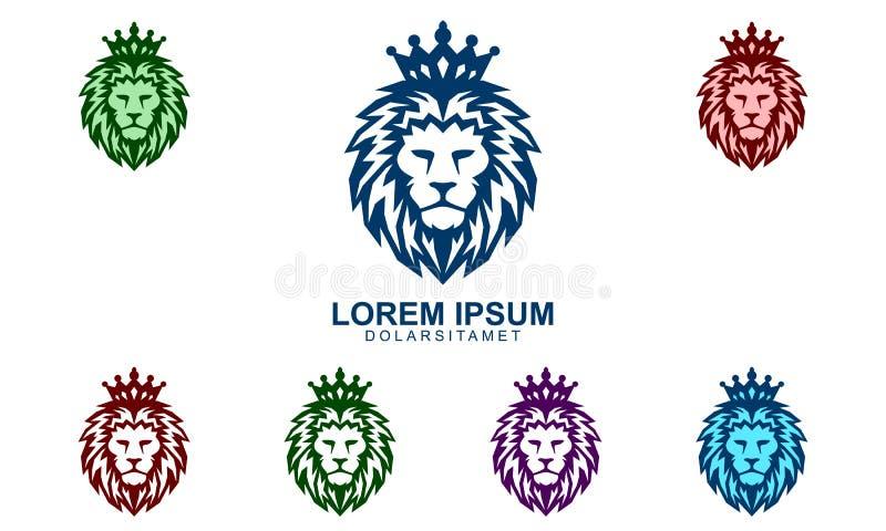 Lion King Vector Logo Design elegante con la corona stock de ilustración