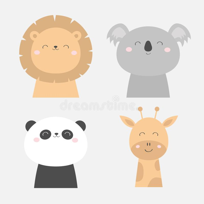 Lion Koala Panda bear Giraffe face head icon set. Kawaii animal. Cute cartoon character. Funny baby kids print. Love Greeting card royalty free illustration