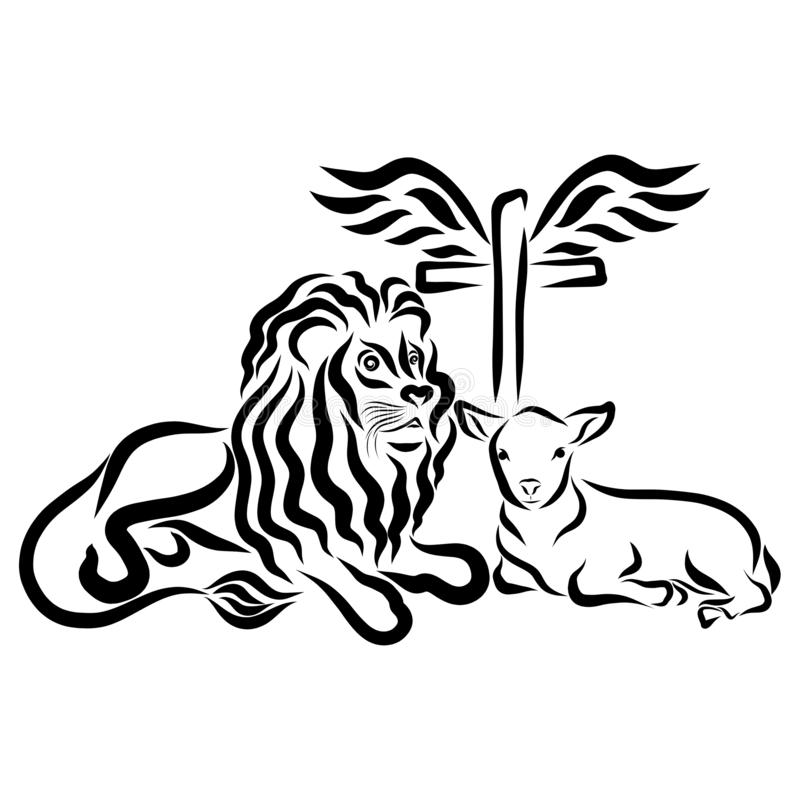 Lion With A Lamb And A Cross With A Heart And A Crown Stock Illustration Illustration Of Holiday Christianity 129705020 Check out our lion lamb selection for the very best in unique or custom, handmade pieces from our prints shops. lion with a lamb and a cross with a