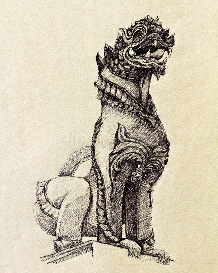 Lion Lanna royalty free illustration
