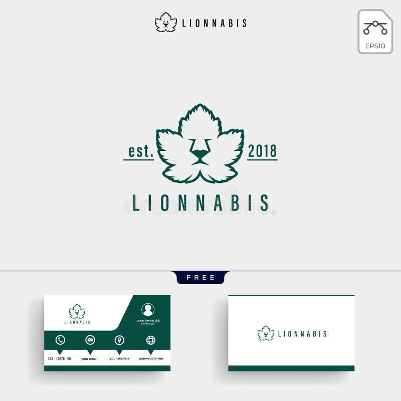 Lion Leaf Nature Logo-malplaatje en adreskaartje royalty-vrije illustratie