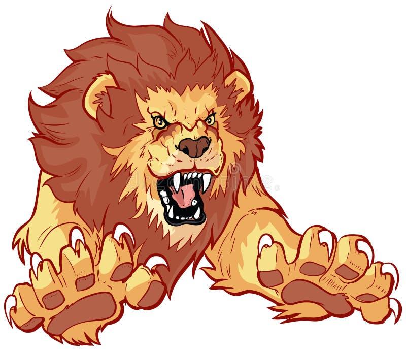 Lion Leaping Forward Vector Illustration d'hurlement illustration libre de droits