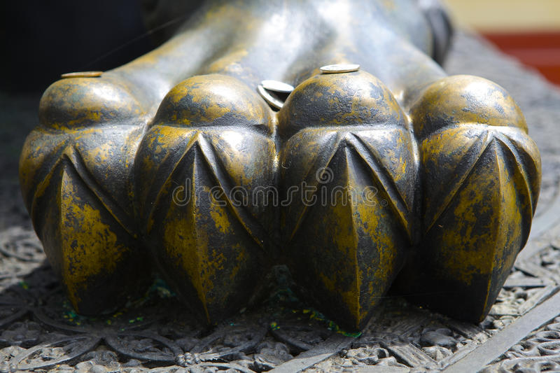 Lion legs. One lion statues made of brass stock image