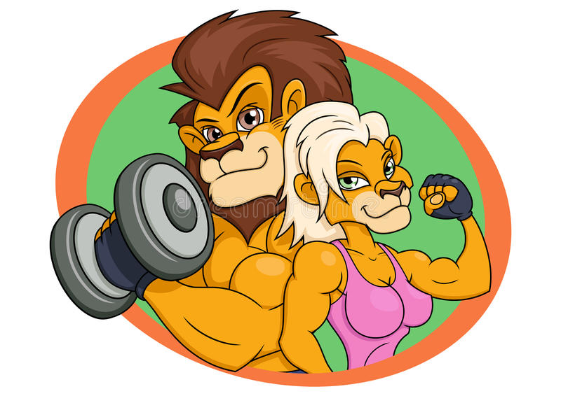 Lion and lioness posing. Illustration of the strong smiling lion and lioness posing stock illustration