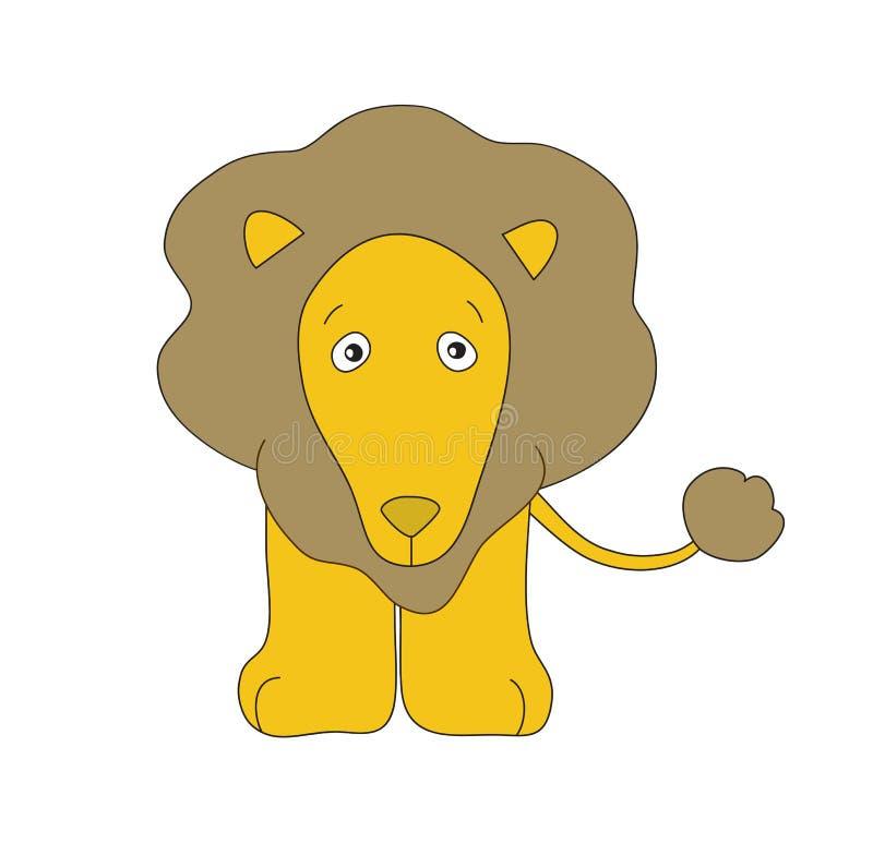lion little Hand dragen barnslig vektorillustration För barnbok affisch, t-skjorta isolerat Vit bakgrund Primitivt minsta stock illustrationer