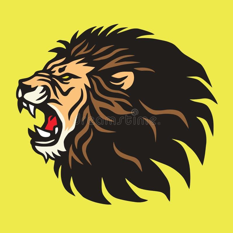 Lion Logo Mascot Vetora Design Template rujindo ilustração royalty free