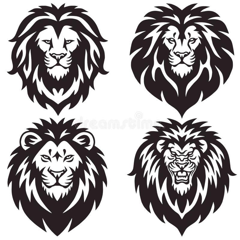 Lion Logo Set Collection Paquete superior del ejemplo del vector del diseño stock de ilustración