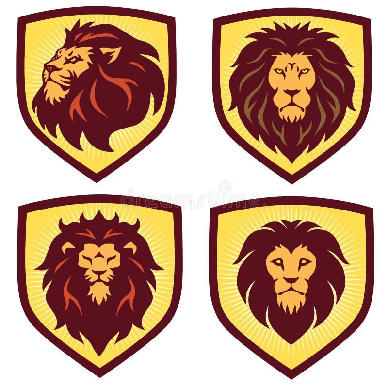 Lion Logo Shield Set Design mall, vektorillustration stock illustrationer