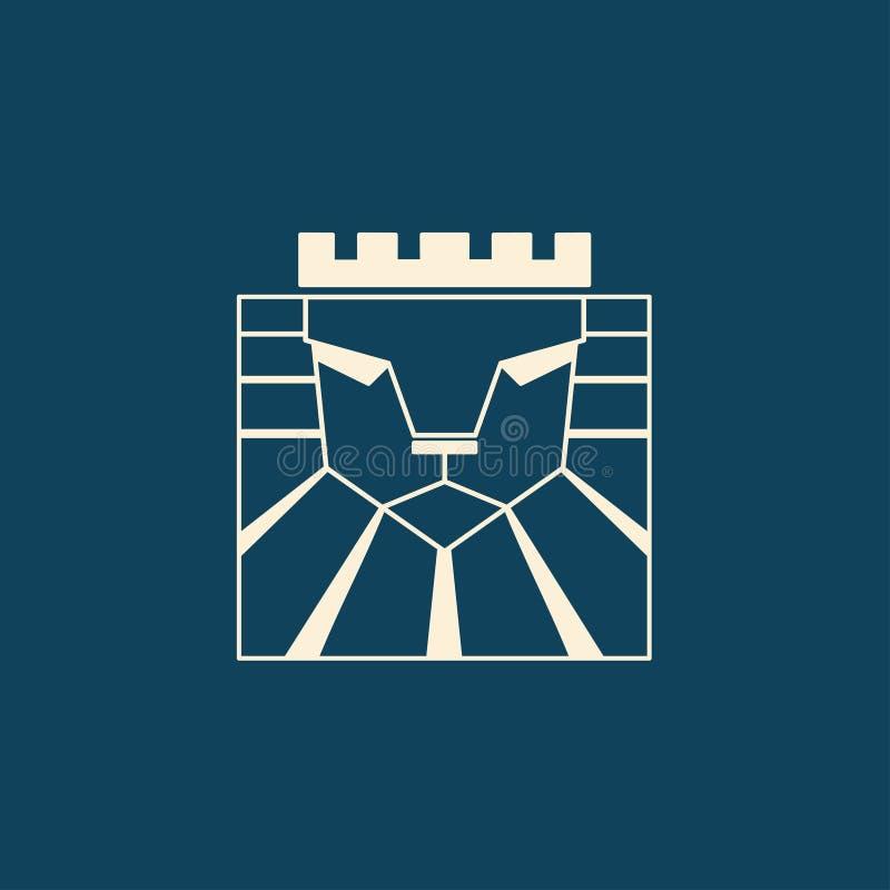 Lion Logo Testa del leone con la corona - illustrazione di vettore, progettazione dell'emblema Simbolo universale della società illustrazione di stock