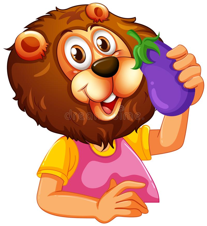 Lion mangeant de l'aubergine illustration libre de droits