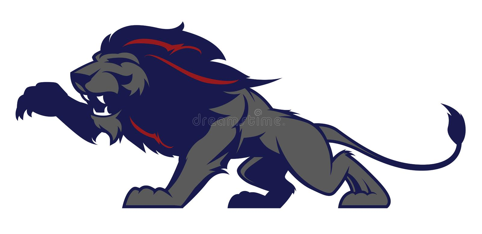 Lion mascot, colored version. Great for sports logos & college team mascots. royalty free illustration
